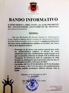 Bando Informativo - Apertura Días Festivos