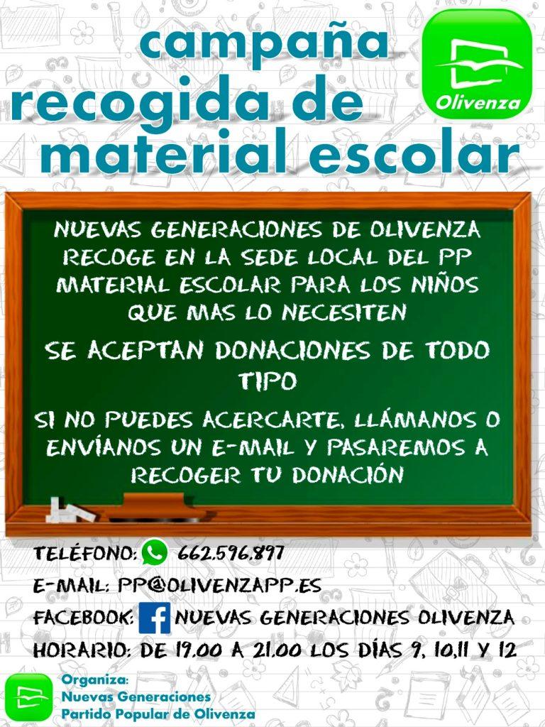 Cartel campaña de recogida material escolar